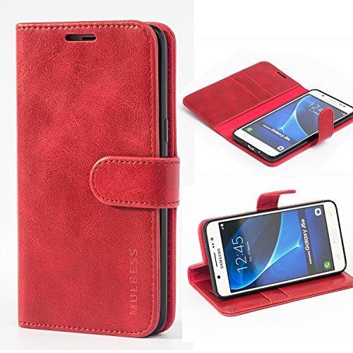 Mulbess Handyhülle für Samsung Galaxy J5 2016 Hülle, Leder Flip Case Schutzhülle für Samsung Galaxy J5 2016 Duos Tasche, Wein Rot