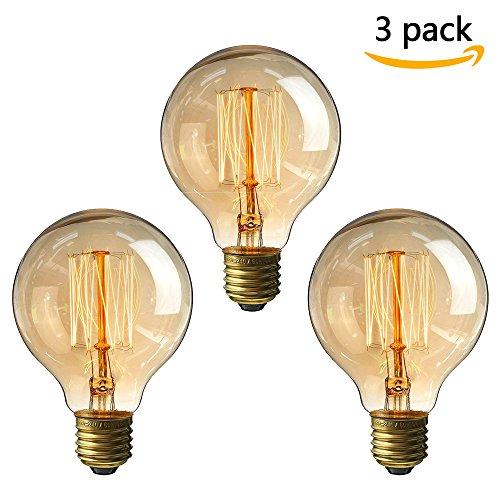 Vintage Edison Glühbirne, NUODIFAN 3 x E27 40W Retro Birne Squirrel Cage Stil Filament Lampe Amber...