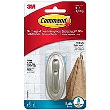 Command Traditional Plastic Bath Hook, Medium, Brushed Nickel, 1-Hook (17051BN-B)