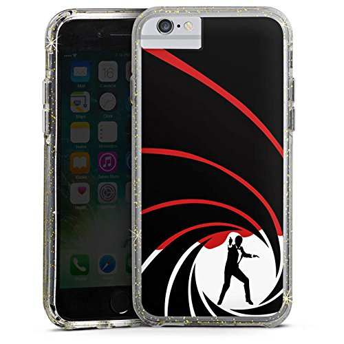 Apple iPhone 6 Plus Bumper Hülle Bumper Case Glitzer Hülle James Bond 007 Bumper Case Glitzer gold
