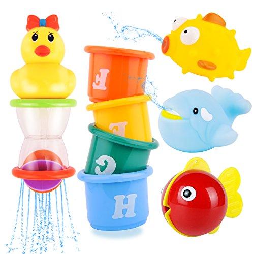 Safe&Care Badespielzeug Baby Set, Stapeln Tassen 8 Stücke Badewannenspielzeug, mit Netz Speicherungstasche Babyspielzeug Kleinkindspielzeug für Jungen und Mädchen