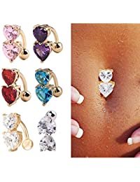 ILOVEDIY 3Pcs Lot Piercing Nombril Acier Chirurgical Brillant Double Coeurs Strass Grossesse Sexy (bleu+cristal-or+ rose)