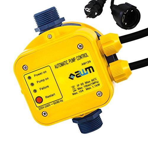 AWM AM-129 Pumpen Druckschalter automatische Pumpensteuerung, verkabelt, Trockenlaufschutz, Rückschlagventil, Manometer, max. 10 bar -