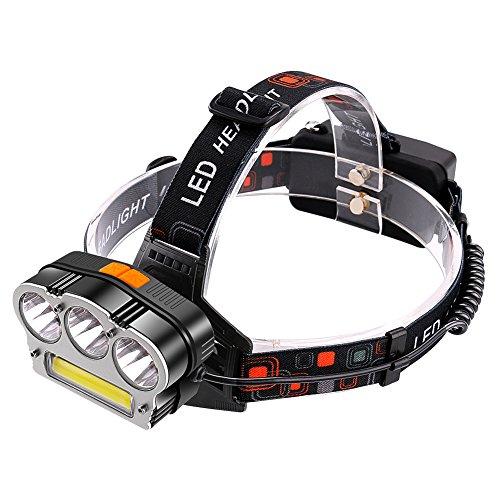 Stirnlampe LED Kopflampe mit 7 Modi T6 / XPE CREE mit COB Rot Blitzlicht Wiederaufladbare 18650 Batterie Helle Kopfleuchten Camping Laufen