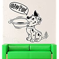 GGWW Wall Stickers Puppy Dog Bowl Pet Kitchen Dalmatian Hungry Vinyl Decal (Ig1480)