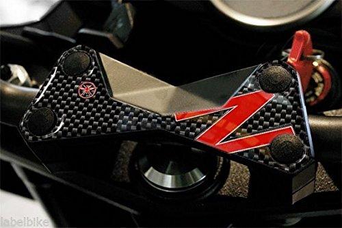 Protection 3D Plaque Fourche Compatible pour Moto Kawasaki Z750 Z1000 - Carbone Rouge