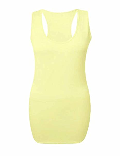 NEW WOMENS RACER BACK VEST LADIES MUSCLE LONG GYM TOP STRETCH BODYCON TOPS  MAXI: Amazon.co.uk: Clothing