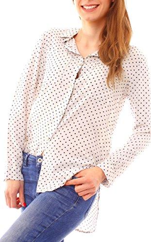 Easy Young Fashion Damen Langarm Hemd Bluse gepunktet One Size Hellbeige