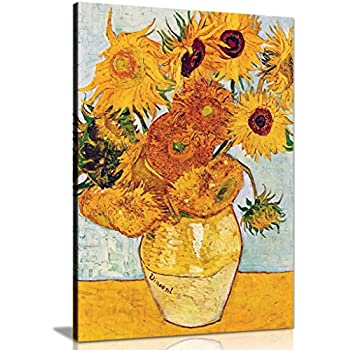 LARGE CANVAS ART VAN GOGH SUNFLOWERS 30 X 20 INCHES READY TO HANG by CANVAS INTERIORS