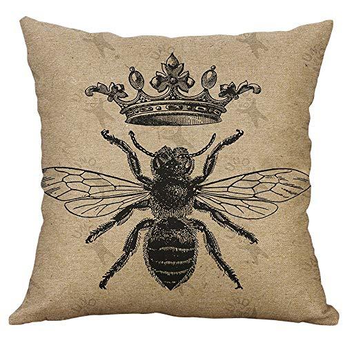 UYSDF Fashion Pillowcase 45 * 45 cm,European Style Retro Small Bee Linen Pillow Home Car Cushion Cover - Stuhl Aufblasbare Cafe