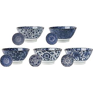 AAF Nommel ®, 5 japanische Reis Schalen Ø 18cm Japan Porzellan Set in 5 verschiedenen Dessins, Nr 85, weiß/blau