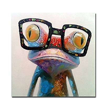 Fokenzary Hand Painted Oil Painting Cute Frog with Glasses on Canvas Stretched and Framed Modern Pop Canvas Wall Art