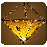 Orientalische Lampe Hängelampe marokkanische Deckenlampe Hänge Leuchte Hennalampe Lederlampe Orient Fuego Sonne 40 cm Color Gelb