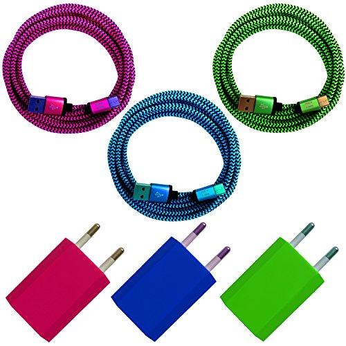 [i!®] 3x USB Netzstecker 5V/1A + 3x 2m Premium Nylon USB-C Typ C 3.1 Ladekabel Datenkabel SET kompatibel mit [Nexus 5X, Nexus 6P, OnePlus 2, ChromeBook Pixel, Nokia N1 Tablet, Lenovo Zuk Z1 und viele mehr...] blau + grün + pink