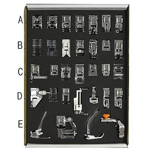 Gosear® 32 Pcs Accessoire de Basse Tige Système Couture Machine Presseur Pieds Ensemble Ménage Point Services Outil Divers