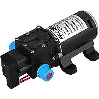 Keenso - Bomba de Agua de 12 V CC con diafragma, autocebado, 100 W, 8 L/min, 160 PSI, válvula Inteligente de Alta presión, autocebado, para Lavadora de Coche, energía Solar, Agua