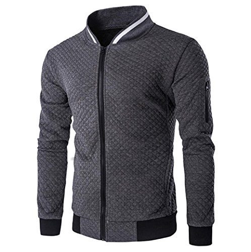 Männer Plaid Strickjacke CLOOM leichte herrenjacken Zipper Sweatshirt Tops Outwear Sport herrenoberbekleidung Herbst übergangsjacke jung herren mantel slim fit business windbreaker (S, Dunkelgrau) (Herren Bekleidung Strickjacken Pullover)