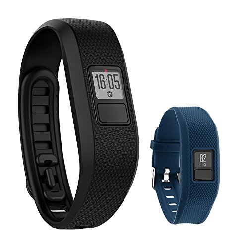 Garmin Vivofit 3 Activity Tracker Fitness Band - Regular Fit (Black) with Extreme Speed Silicone Replacement Wrist Band Strap (Blue)