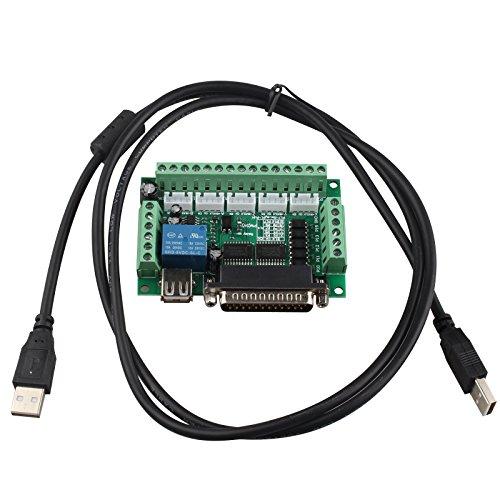 HALJIA® Graviermaschine CNC Schrittmotor Treiber, Adapter, Breakout-Board 5-achsig mit USB-Kabel für Mach3 - Adapter Breakout-kabel