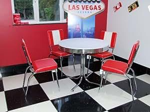 just set composto da tavolo con 4 sedie rosse in stile diner americano anni 39 50. Black Bedroom Furniture Sets. Home Design Ideas