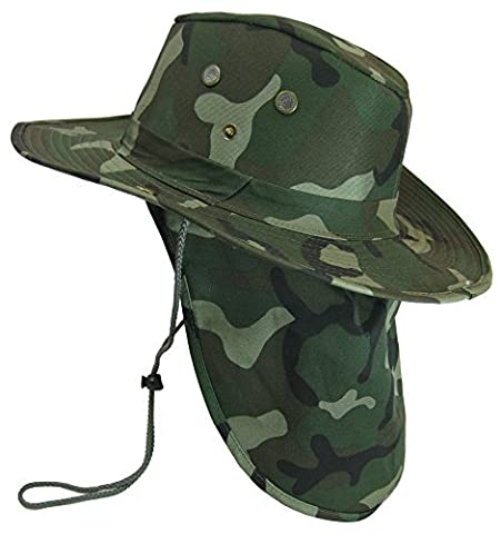 Boonie Bush Safari Outdoor Fishing Hiking Hunting Boating Snap Brim Hat Sun Cap with Neck Flap (Woodland Camo, L) by S And W