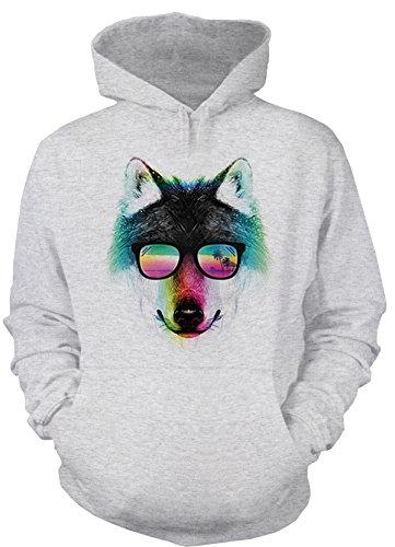 Wolf mit Sonnenbrille Kapuzen Sweatshirt Herren Langarm Wolf Kopf Neonfarben Pop Art lustiges Strand Motiv Buntes Aussteiger Wolfsportrait Urlaub Unter Palmen Hoodie in Grau Gr. XL :)