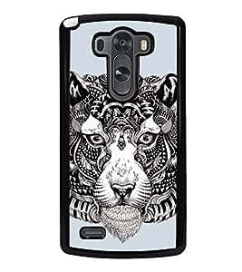 Fuson Designer Back Case Cover for LG G3 :: LG G3 Dual LTE :: LG G3 D855 D850 D851 D852 (Tiger Zebra Print Tiger Striped Tiger Black And White Stripes Unique tiger)