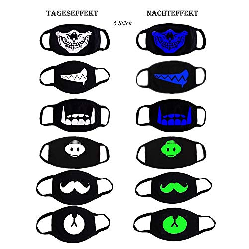 Mundmaske, 6er Baumwolle Leuchtende Maske Wiederverwendbarer Mundschutz Maske Kawaii Maske Anti Staub Wind Blütenstaub für Damen Herren Kinder Unisex