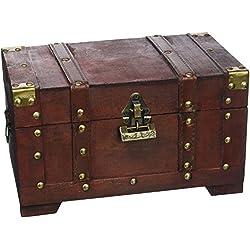 Cofre pirata de madera con candado, hecha a mano, 28 x 17 x 16 cm.