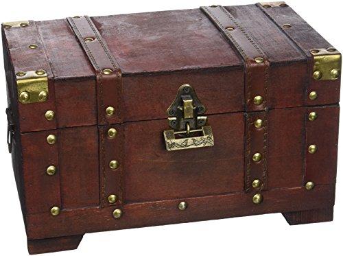 brynnberg scrigno del tesoro con lucchetto vintage bauletto stile antico per accessori gioielli oggetti di valore, cassaforte in legno, idea regalo decorativa 28x17x16cm