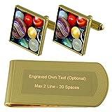 Select Gifts Jugando canicas de Color Oro-Tono Gemelos Money Clip Grabado Set de Regalo