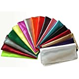 Wedding Party Banquet Men Polyester Silk Satin Handkerchief Pocket Square Hanky Plain Pack of 26 Pcs