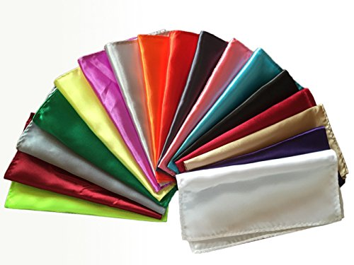 Hochzeit Bankett Männer Polyester Silk Satin Einstecktuch Einstecktuch Hanky Plain Packung mit 26 Stück