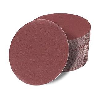 50 Stück 125 mm OHNE LOCH Exzenter Schleifscheiben P400 Körnung, red Film, Haft Klett Schleifpapier