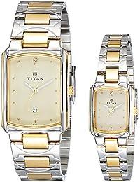 Titan Bandhan Analog Champagne Dial Couple Watch -NK19552955BM02