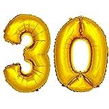 DekoRex® 30 globo en oro 80cm de alto decoración cumpleaños para aire número