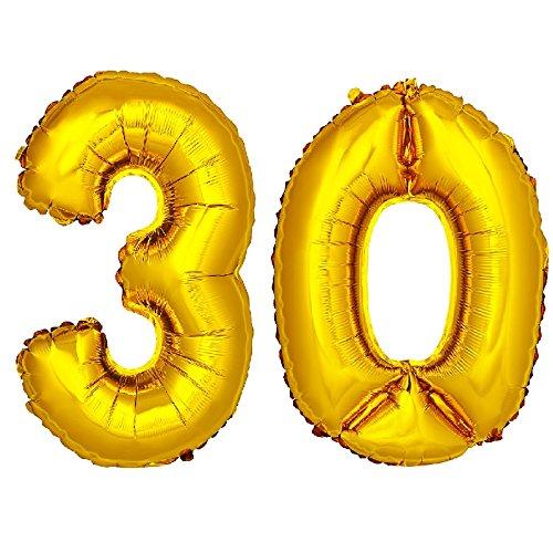 DekoRex 30 Globo en Oro 80cm de Alto decoración cumpleaños para Aire número