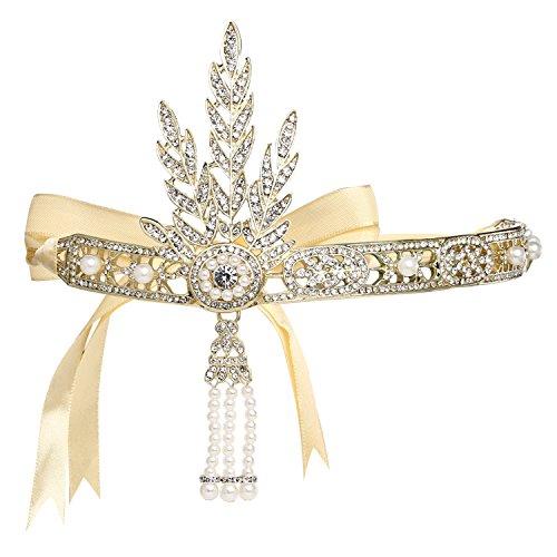 BABEYOND Damen Stirnband Bling Silber Glanz Inspiriert von Great Gatsby Blatt Muster Perlen Stirnband Haar-Tiara Damen 1920 Accessoires (Gold)