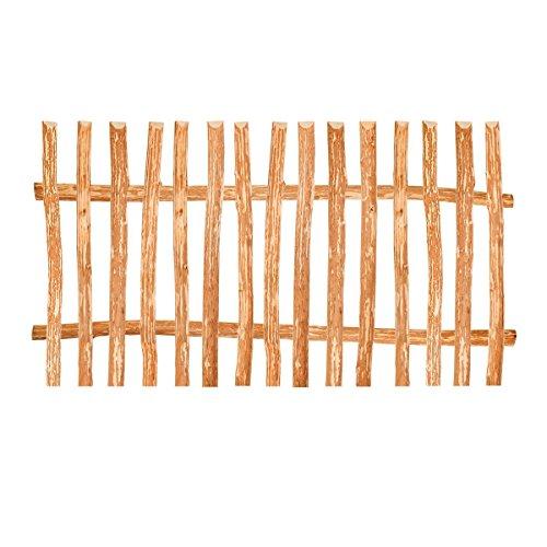 Zaunelement Haselnuss • 90 Größen • 90 x 200 cm (7-9 cm) • Staketenzaun Bausatz für Lattenzaun / Bretterzaun aus Haselnuss inkl. Querriegel, Zaunlatten und Schrauben (8 Holz-schrauben)
