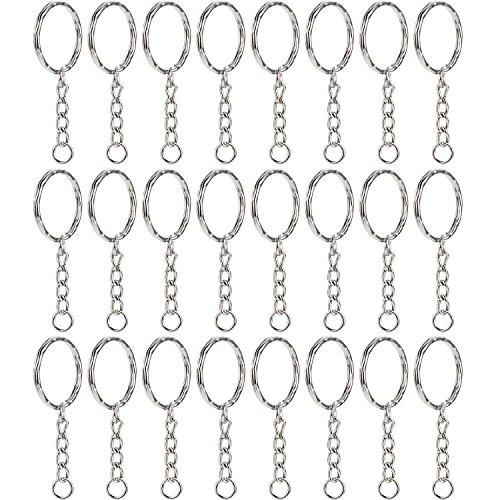 chlüsselring Schlüsselanhänger Ring Split Ringe Runde Umrandete Schlüsselringe mit 4 Link Kette, 1 Zoll Durchmesser ()