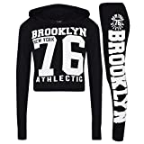 A2Z 4 Kids® Mädchen Top Kinder Designer BROOKLYN NEW YORK 76 ATHLETIC - Brklyn Hooded Crop Set Black White 11