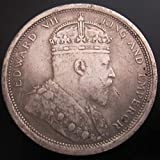 YWJHY British Southeast Asian colony mimicking silver dollar Edward VII image 1904, Silver, One Size
