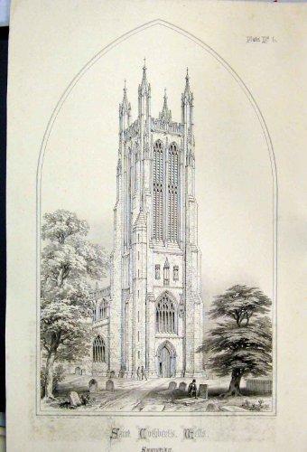 Druck 1855 Kirchen-Heiliges Cuthberts Wells Charles Wickes