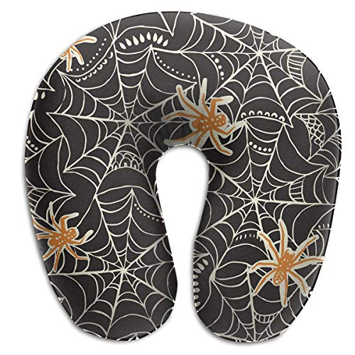 Memory Foam Neck Pillow Halloween Spider Web U-Shape Travel Pillow Ergonomic Contoured Design Washable Cover for Airplane Train Car Bus Office