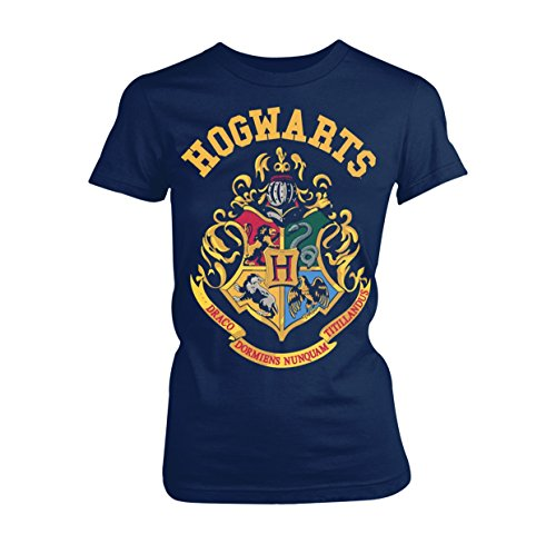 Plastic Head Damen Harry Potter Crest GTS T-Shirt, Blau (Blue), 38 (Herstellergröße:Large)