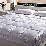 "AVI Premium Double Bed Finest Super Microfiber Mattress Padding/Topper For 5 Star Hotel Feel-White (72""X72"" Inch)"