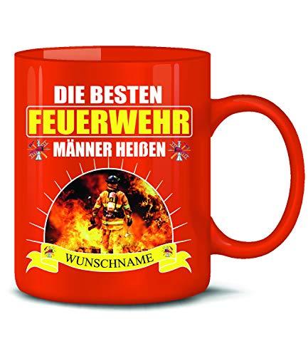Golebros Die beesten Feuerwehr Männer heißen Wunschname Tasse Becher Freiwillige & Berufs Geschenk Ideen Kaffee Artikel Zubehör Geburtstags Spruch Mug Mann