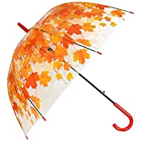 ASAB Clear Dome See Through Umbrella Windproof Automatic Strong Lightweight Transparent Waterproof Leaf Design Fashion Accessory