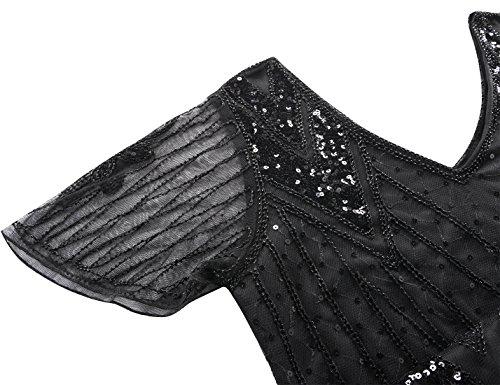 PrettyGuide Damen Charleston Kleid 20er Jahre Pailletten Gatsby Kleid Kurzarm S Schwarz - 5