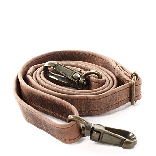 LECONI Trageriemen Leder Schulterriemen schmaler Schultergurt für Taschen Umhängegurt längenverstellbar 2,5x150cm schlamm LEC-R4 -